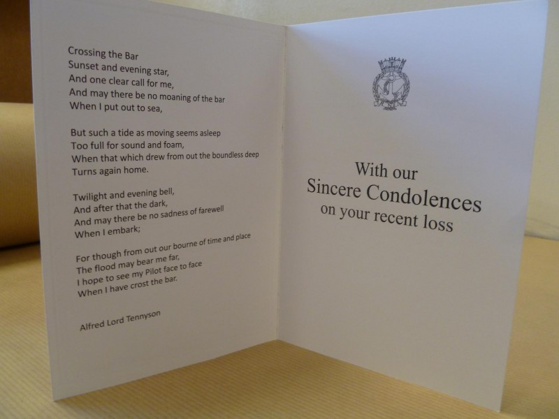 Condolence card royal naval association condolence card altavistaventures Images