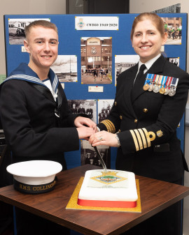 HMS Collingwood 80th anniversary cake cut